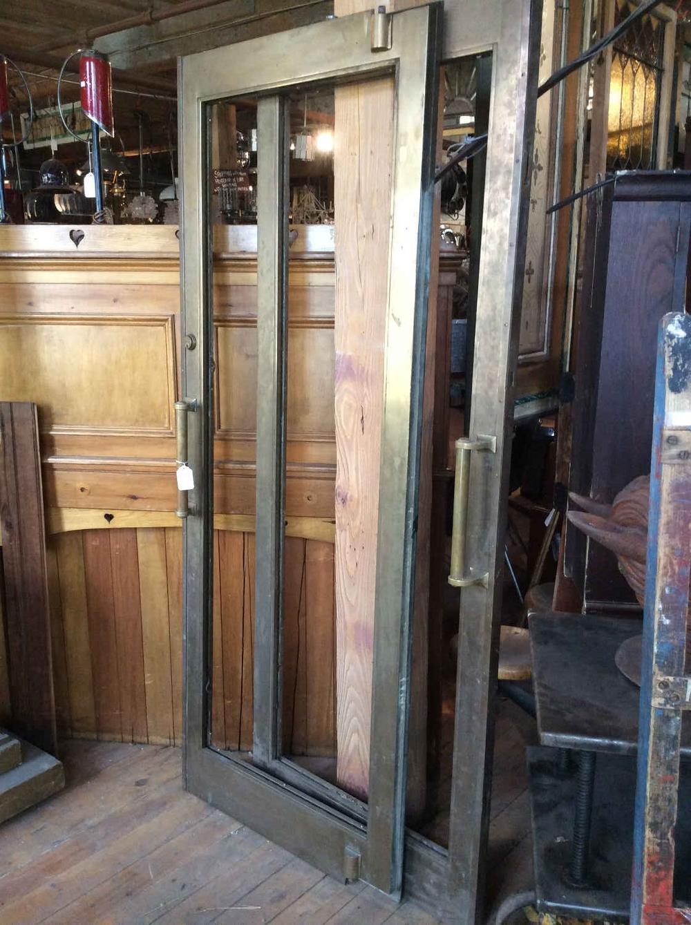 Pair Antique Heavy Brass Bank Doors