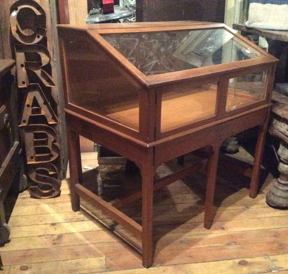 Oak Slant-Front Display Case