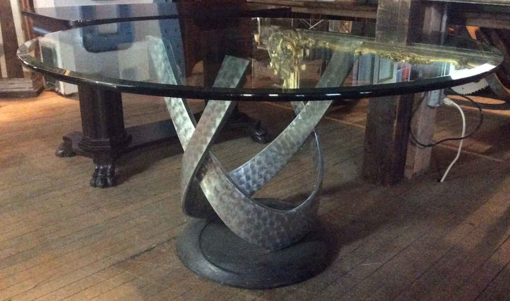 Round Glass-Topped Table w/Modernist Base