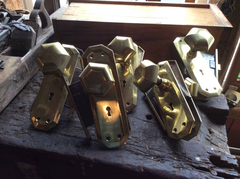 Circa 1920's Solid Brass Yale Doorknob Sets