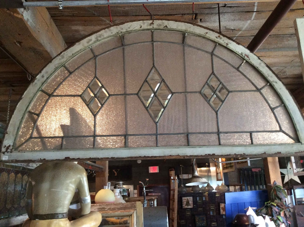 Leaded and Beveled Glass Arched Transom Window