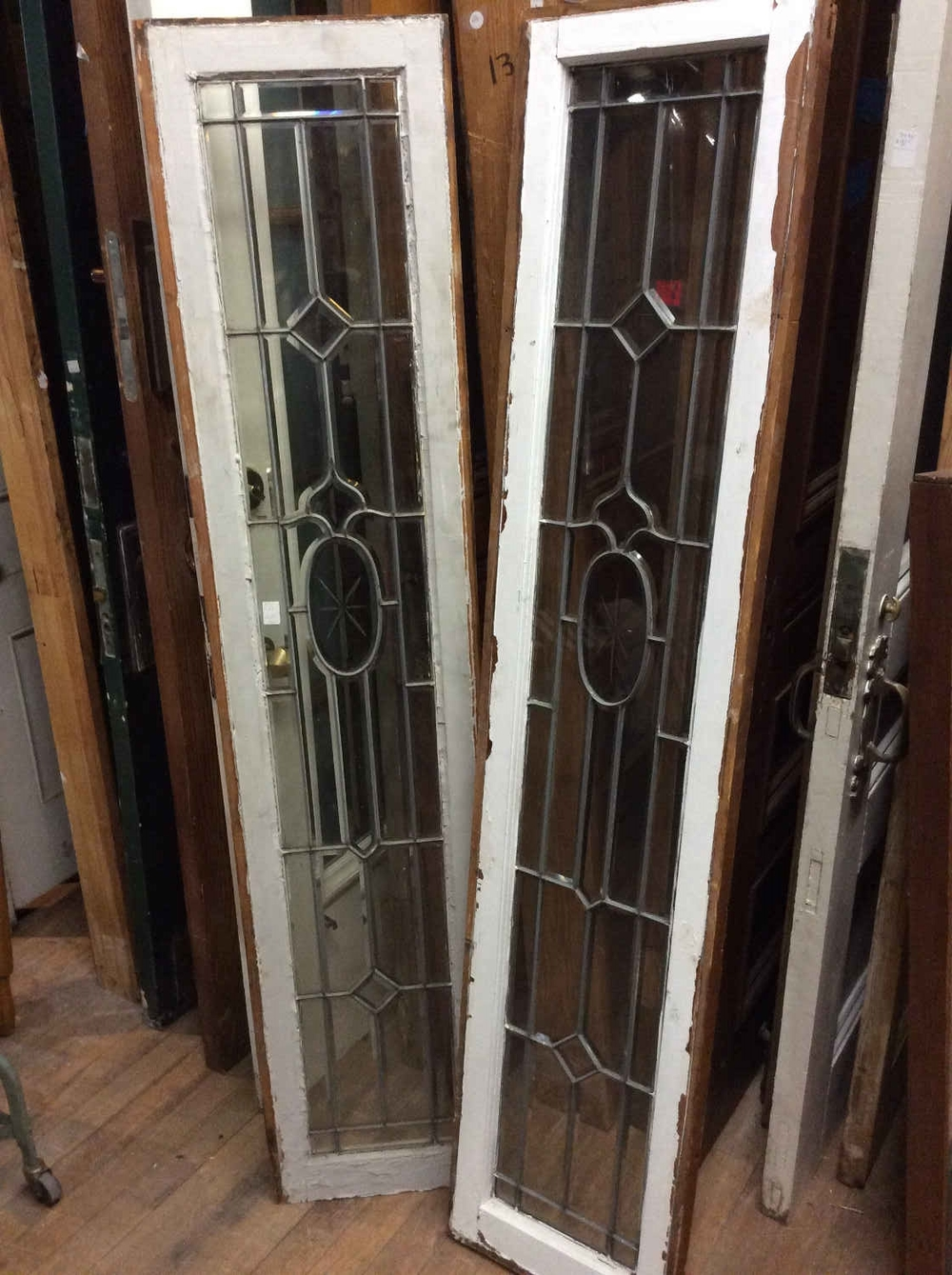 Pair Leaded and Beveled Glass Sidelights