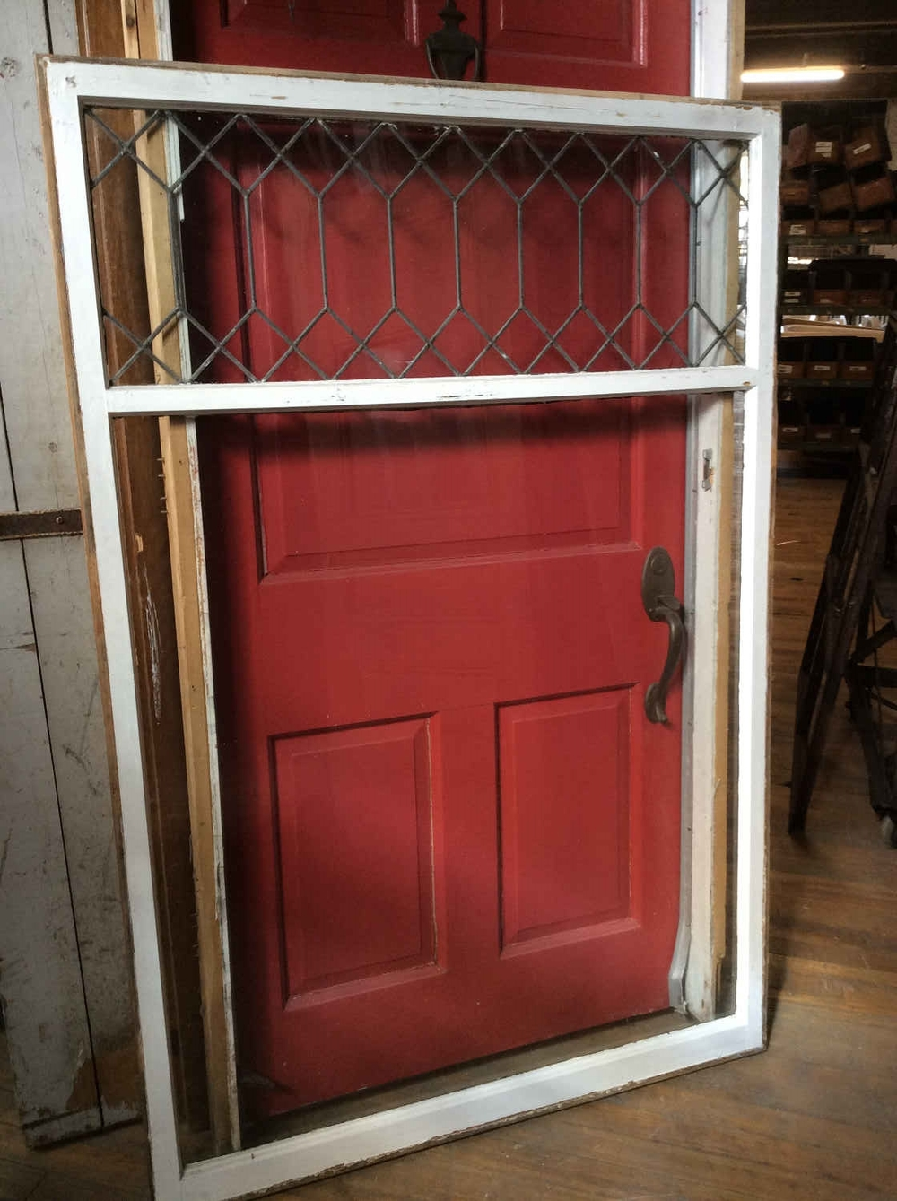 Picture Window with Geometric Leaded Glass
