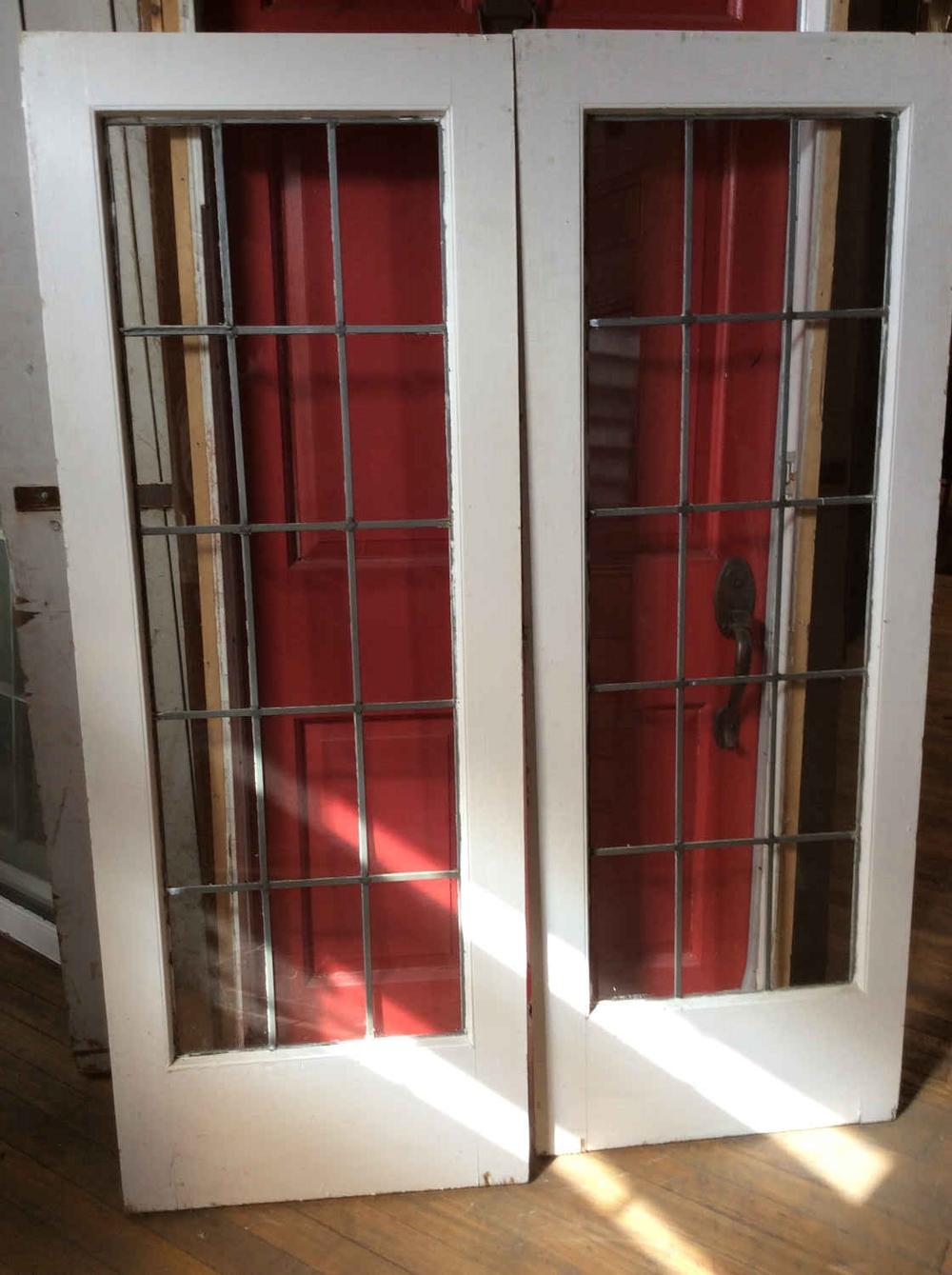 Pair Leaded Glass Windows/Doors