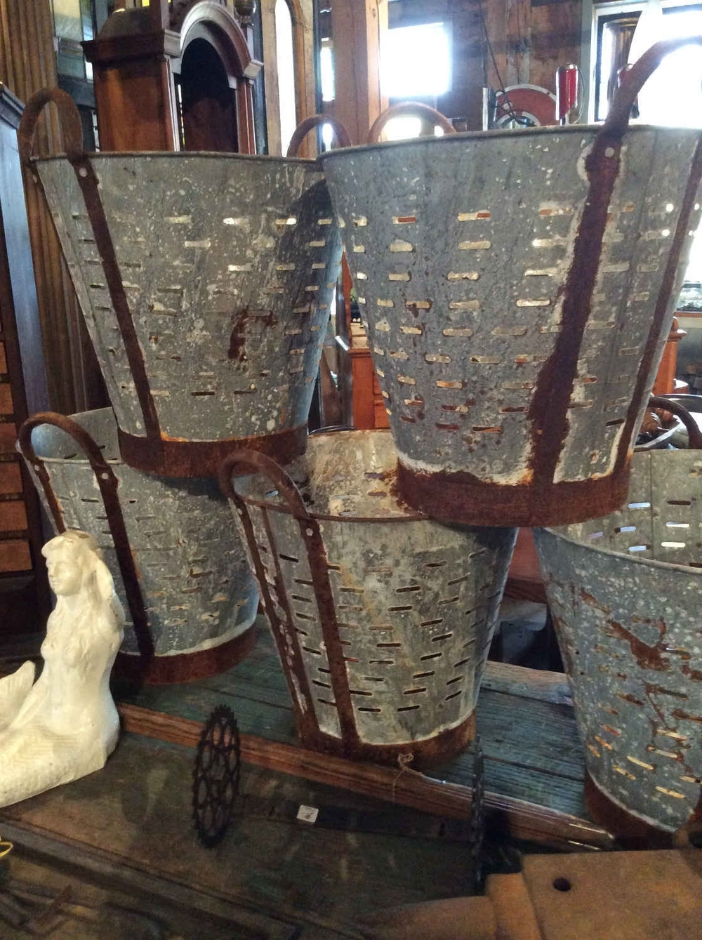 Antique Galvanized Grape or Olive Buckets