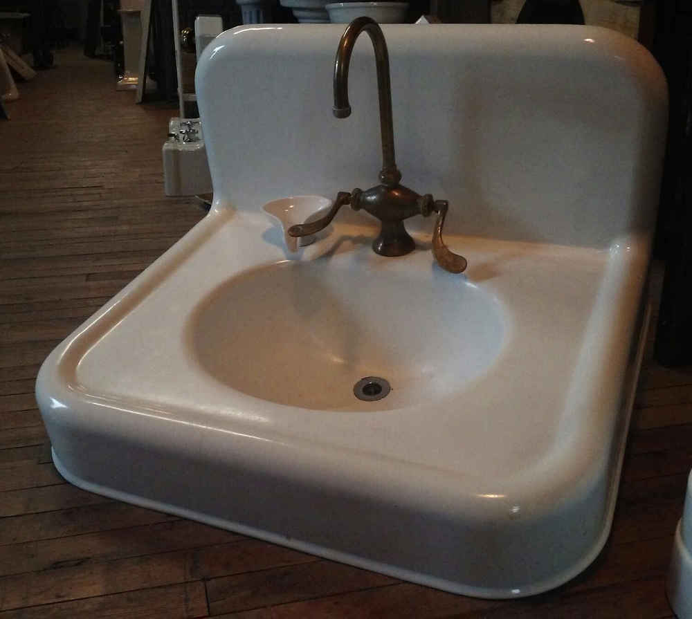 SOLD! Large Porcelain Enamel Over Cast Iron Bathroom Sink