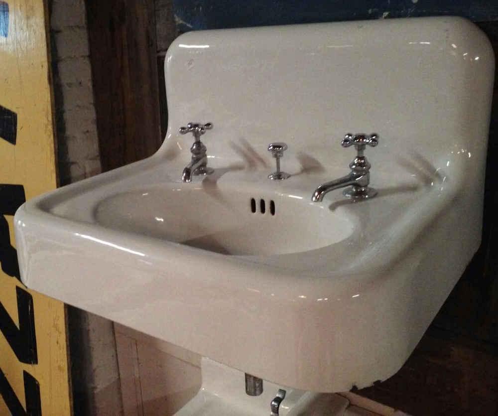 Vintage Porcelain Enamel Over Cast Iron Bathroom Sink