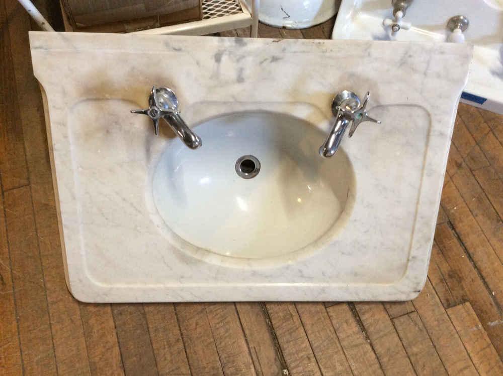 Carrera Marble Sink Deck w/Porcelain Bowl & Faucets