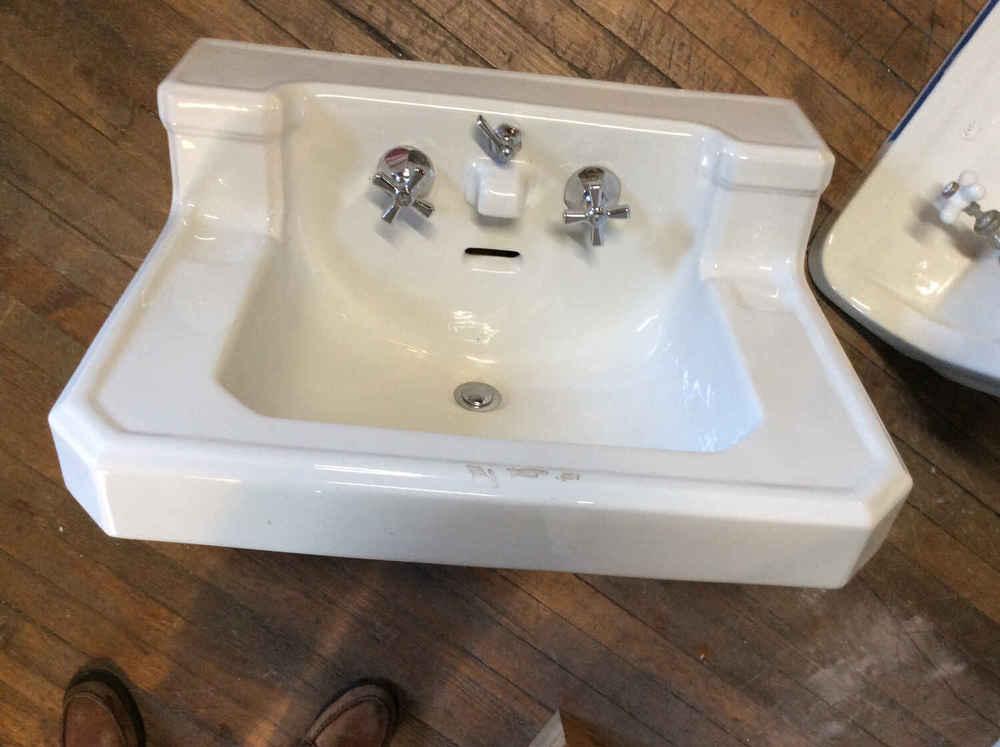 Vintage Porcelain Sink w/Chrome Legs & Towel Bars