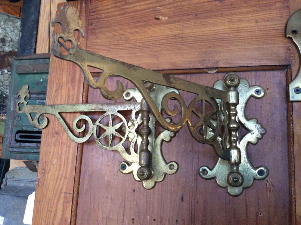 Pr. Solid Brass Colonial Williamsburg Fireplace Skipjacks