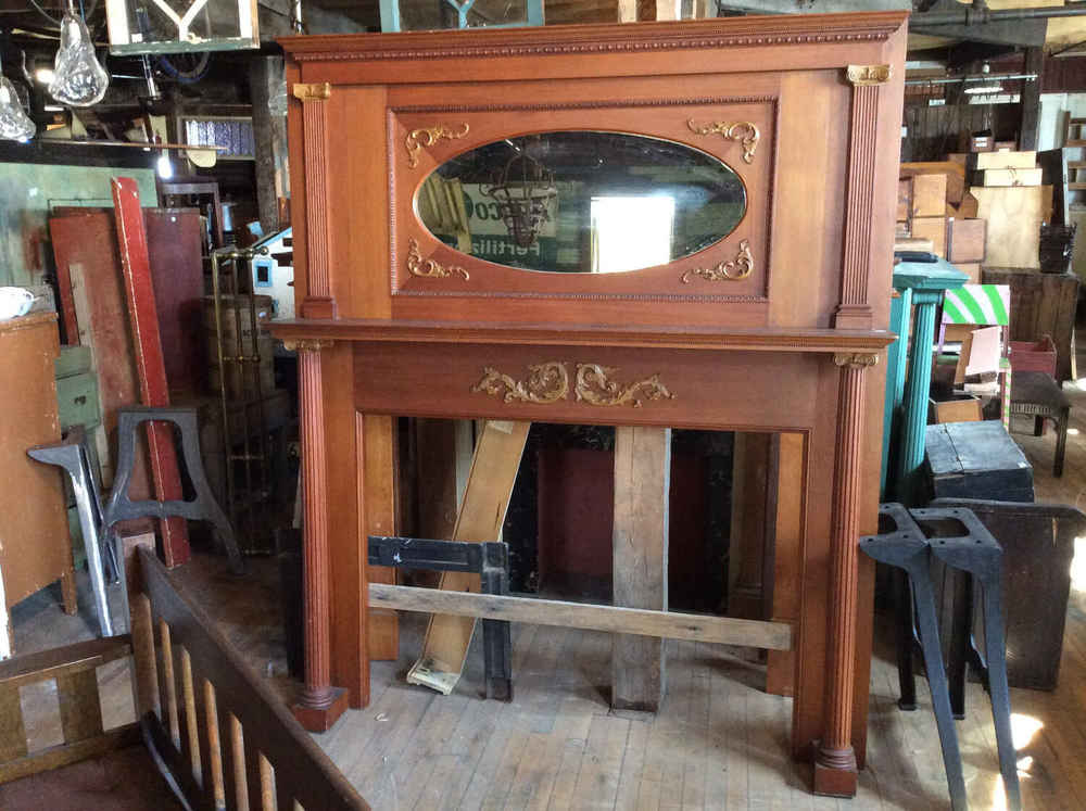 Antique Full-Size Douglas Fir Mantel