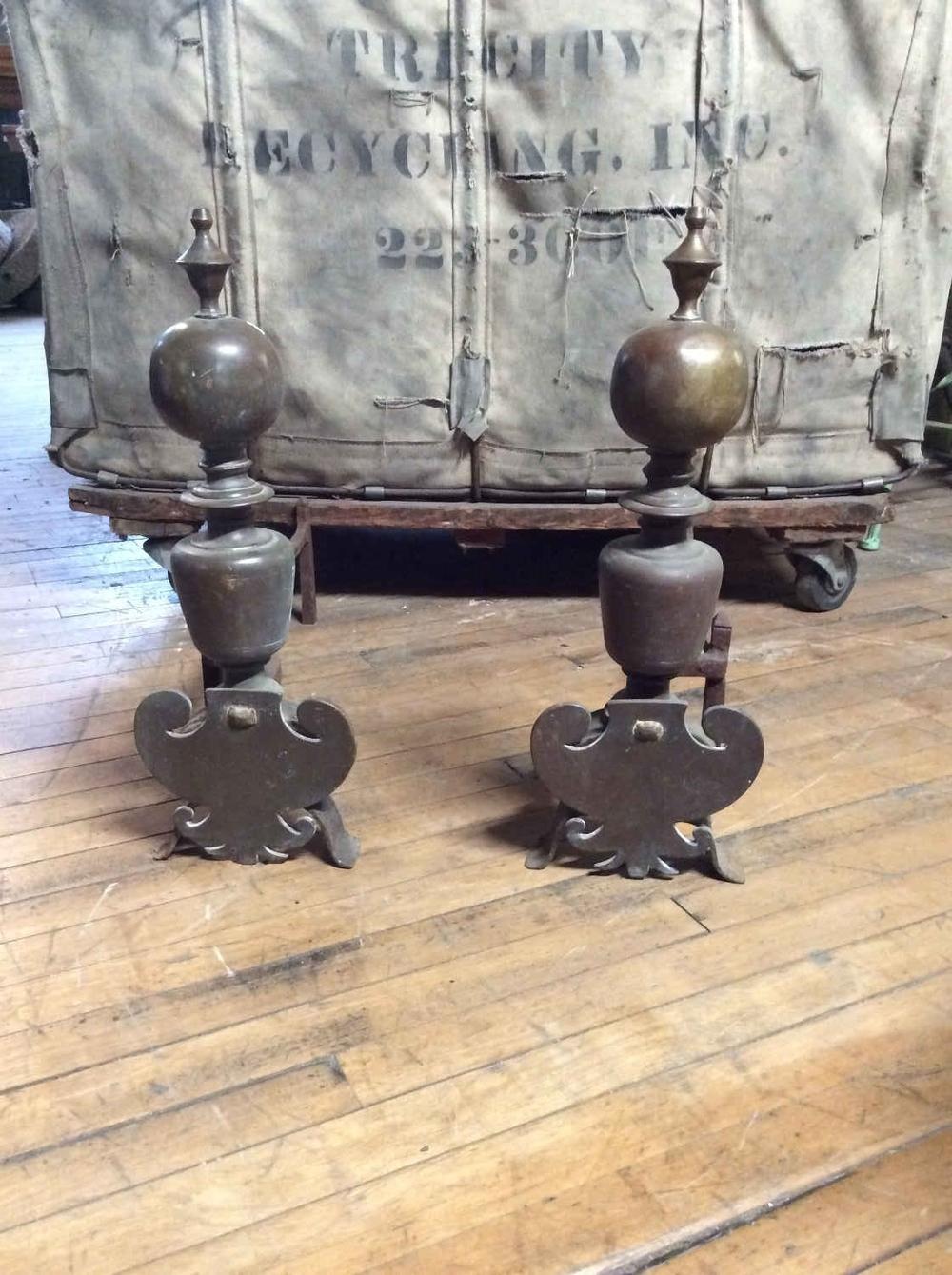 Pr. Antique Brass Andirons