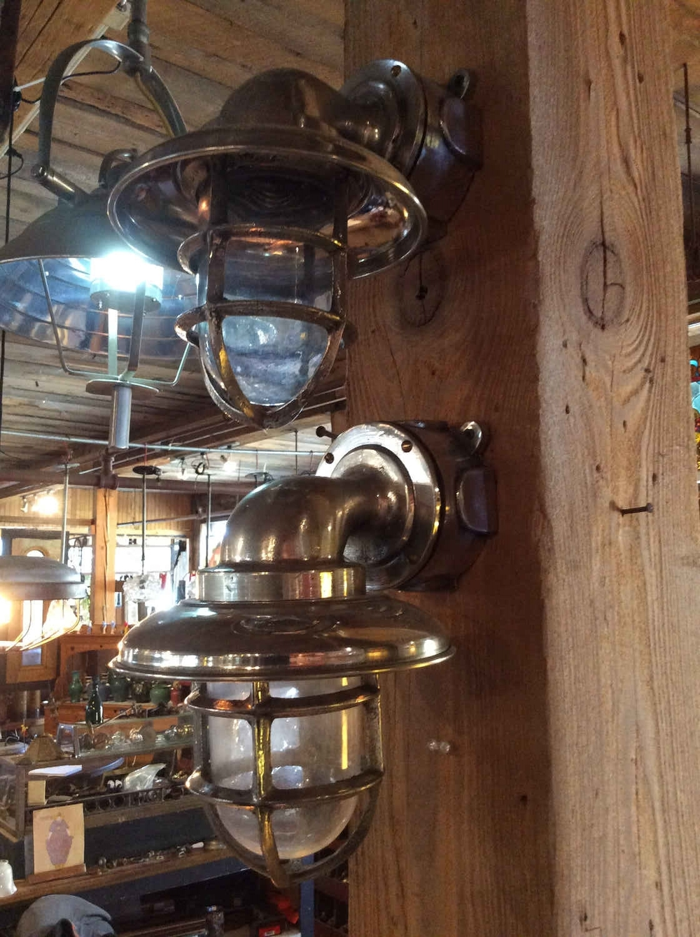 Vintage Polished Aluminum Ships Lights