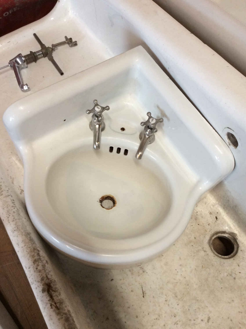 SOLD!! Porcelain Enamel Over Cast Iron Corner Sink