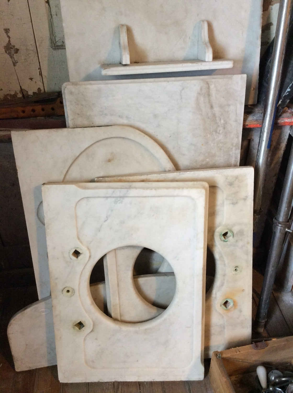 Variety of Antique Carrera Marble Sink Decks