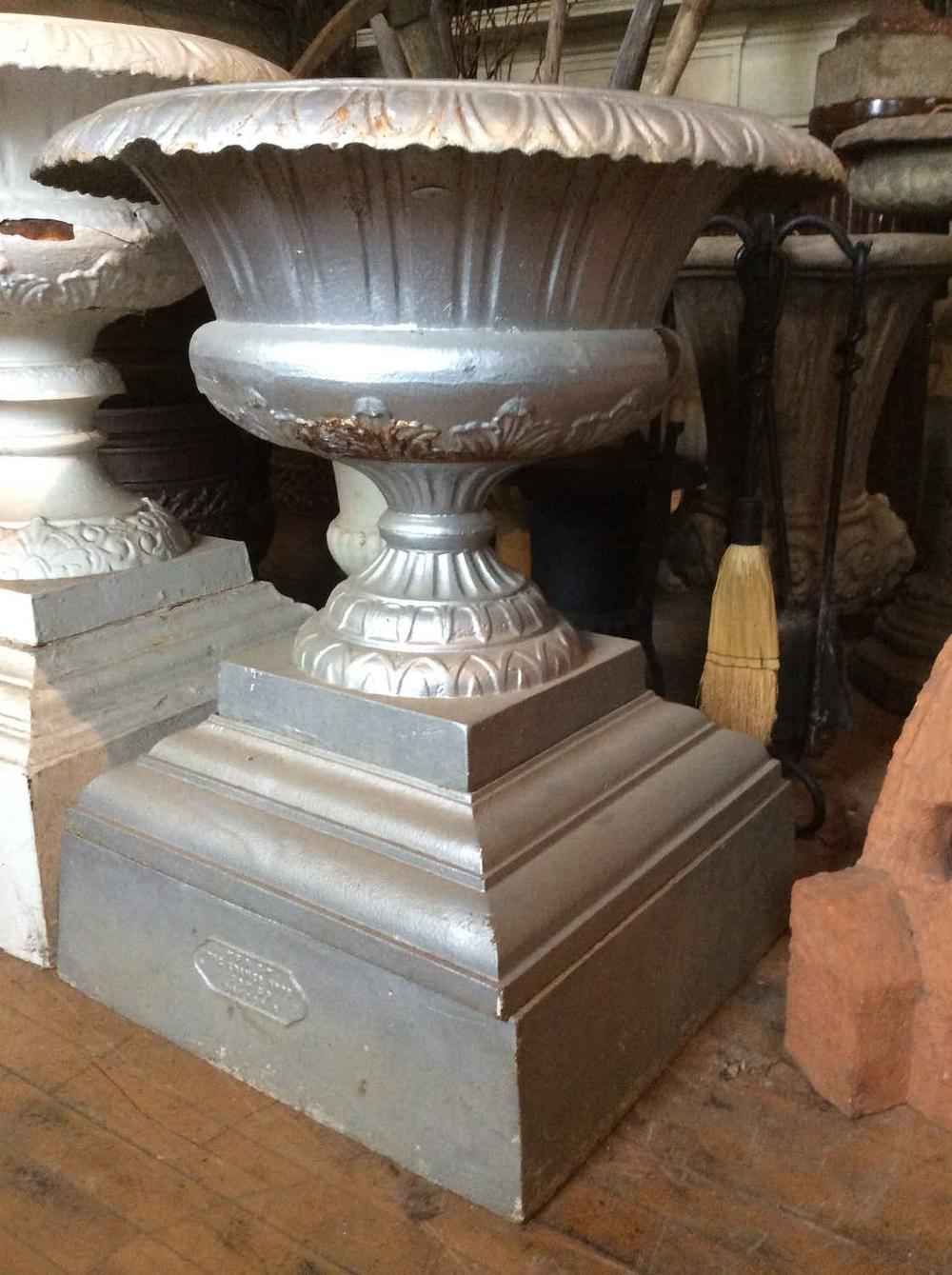 Antique Cast Iron Planter on Plinth Base