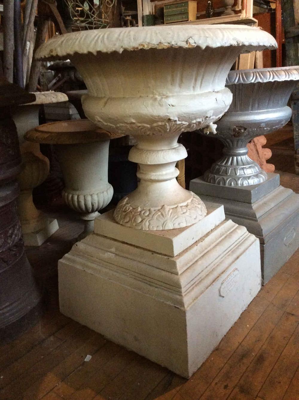 Large Antique Cast Iron Planter on Plinth Base