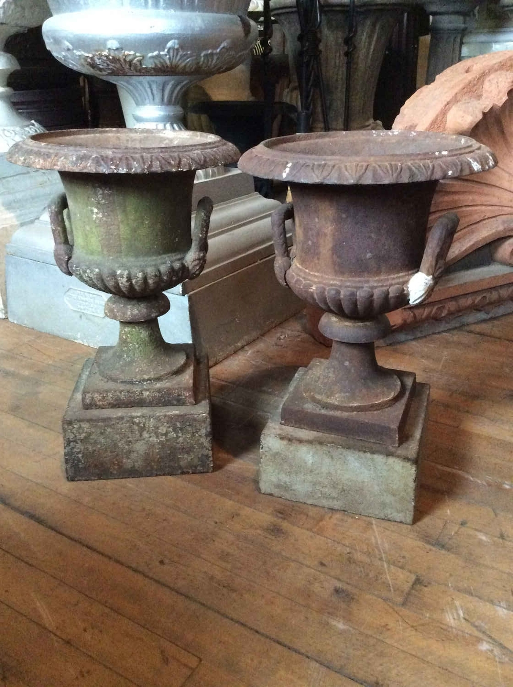 SOLD Matched Pair Antique Cast Iron Campania Urns