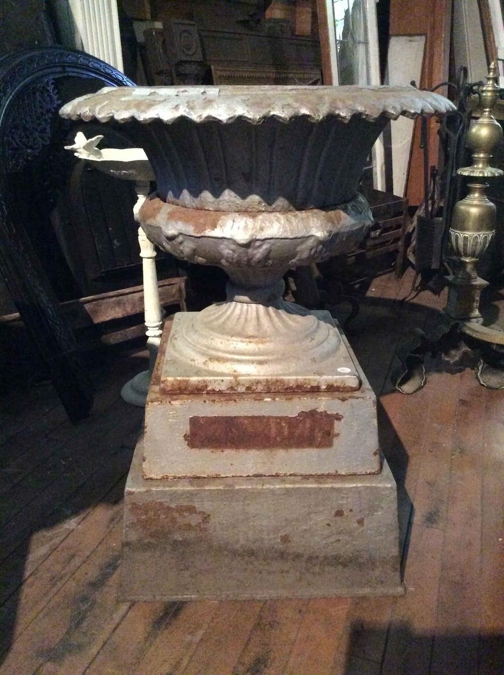 Antique Cast Iron 3-Part Urn