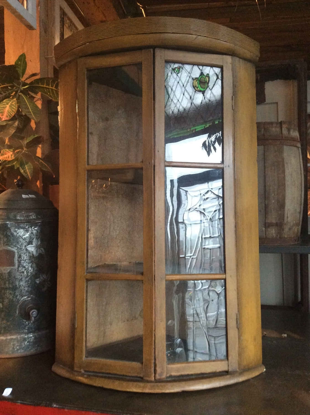 Antique French Rounded Front Corner Cabinet