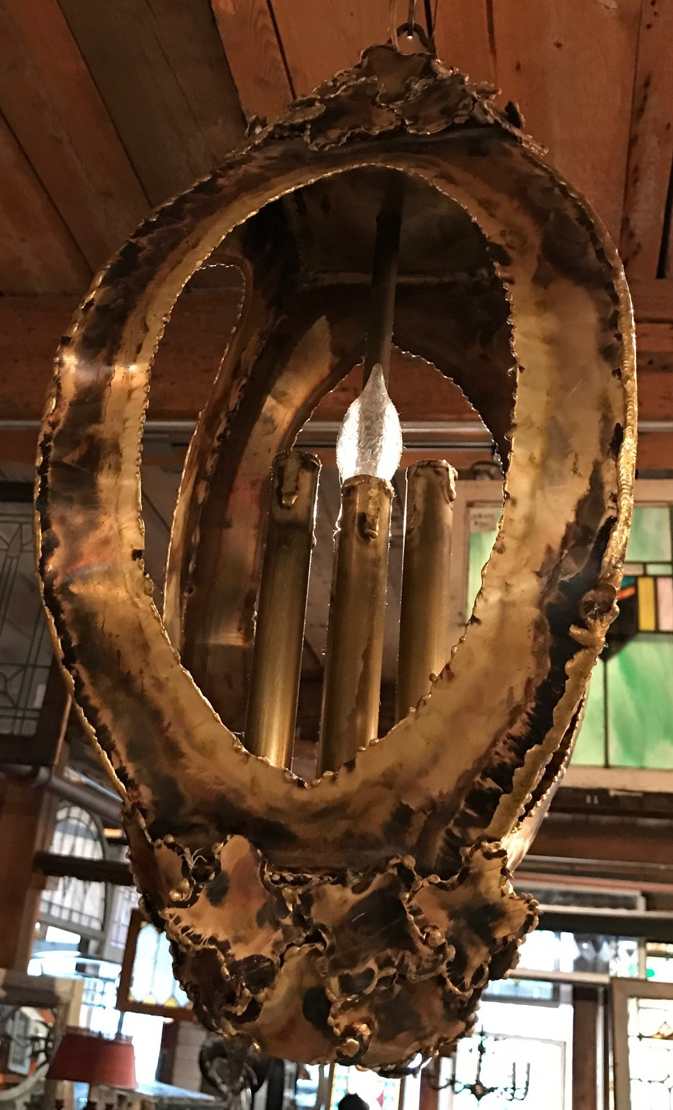 "SOLD! Mid Century ""Brutalist"" Style Brass 3 Light Hanging Interior Lantern"