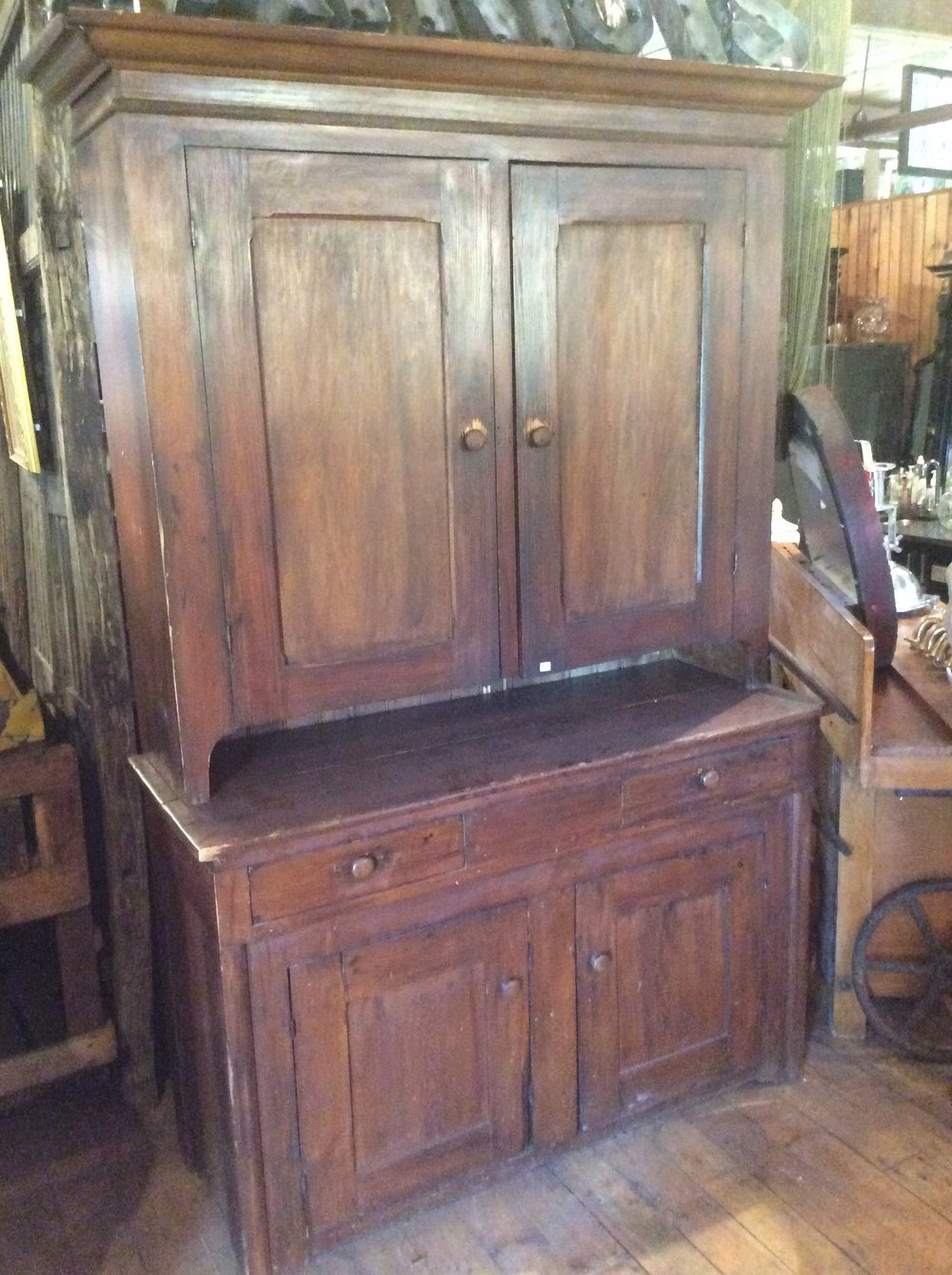 Antique 2 Part Stepback Cupboard