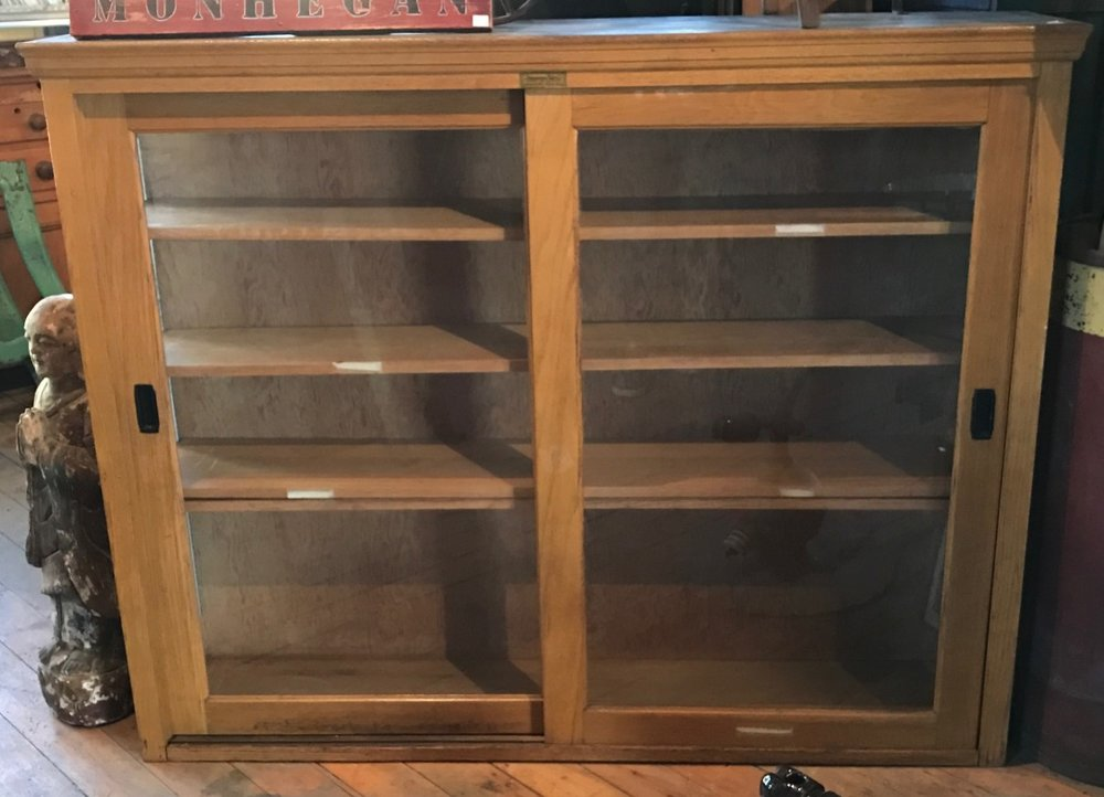 Vintage Oak Medical Supply Cabinet