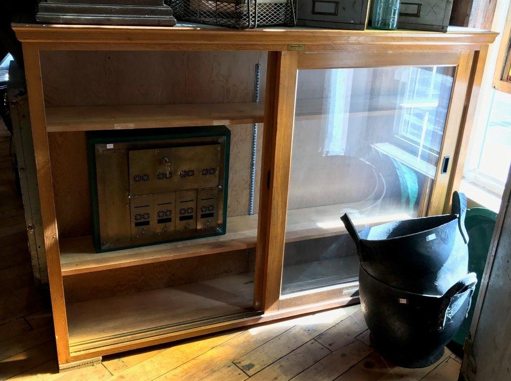 Vintage Oak Medical Supply Cabinet