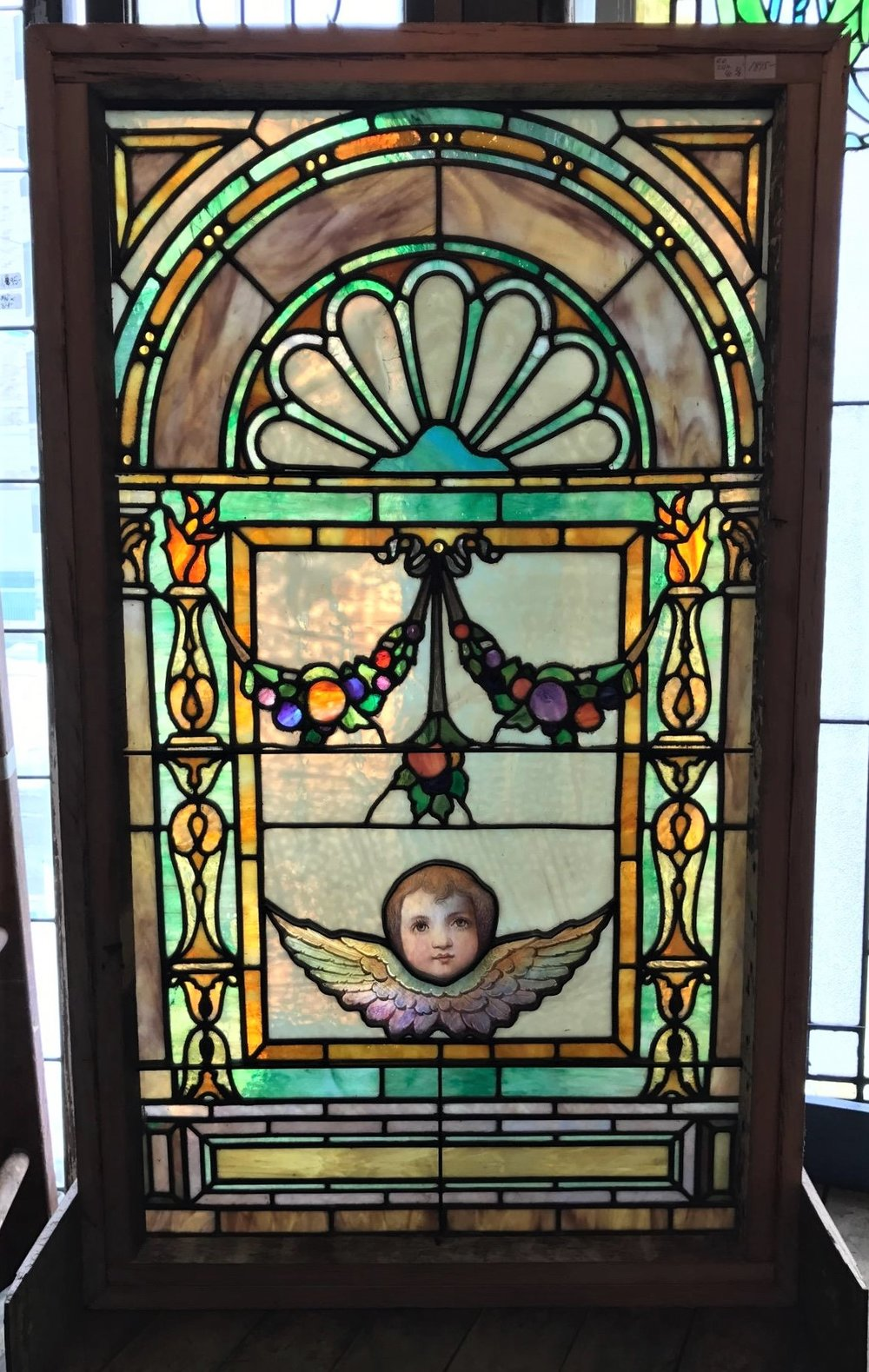 SOLD Antique Stained Glass Window