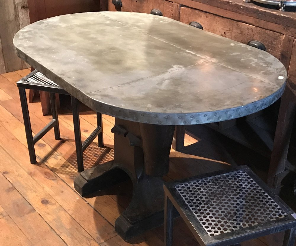 Oval Table with Galvanized patchwork top