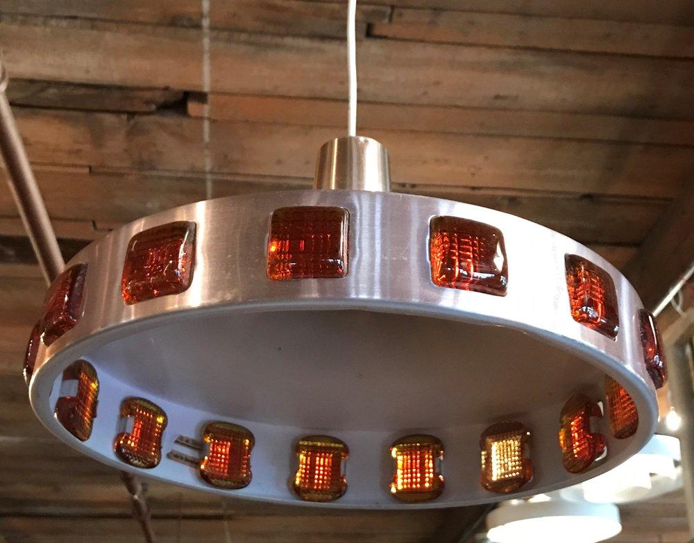Mid Century Swedish Aluminum Flying Saucer Light