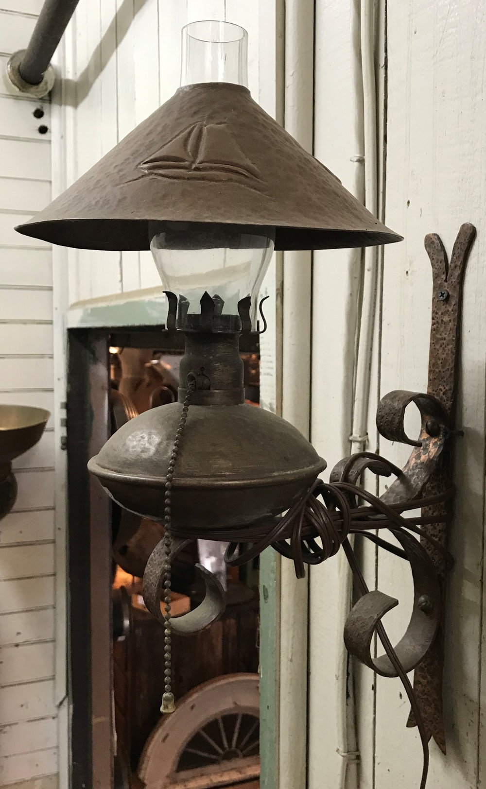 Vintage Hammered Copper Wall Sconce w/Sailboat