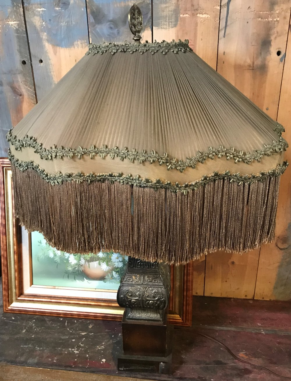 1920's Fringed Lampshade on Brass Chinese Archaic Style Base