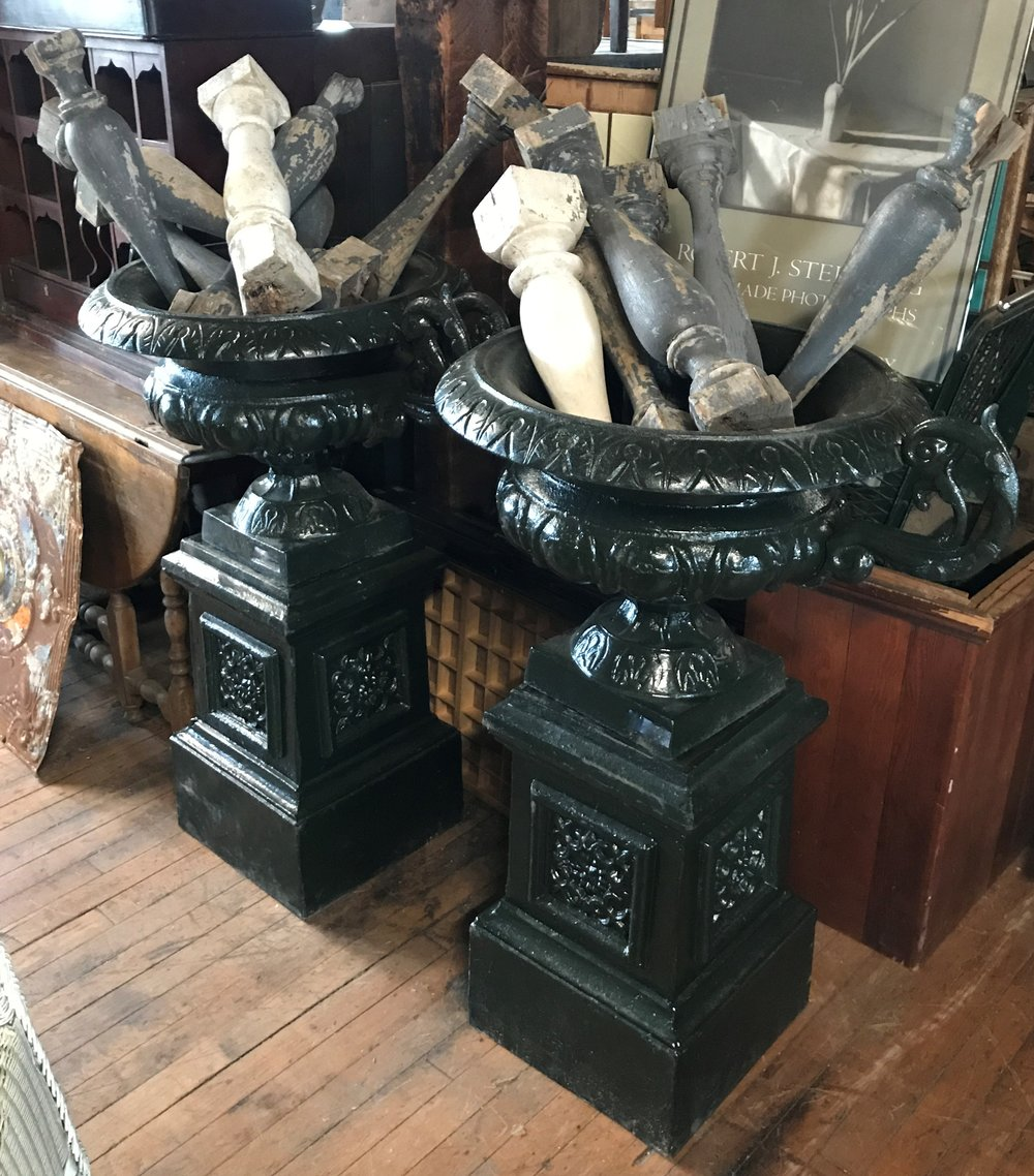 Pair of Modern Handled Cast Iron Urns on Plinth