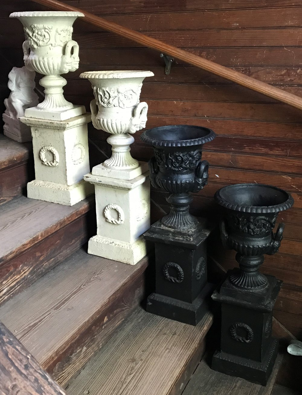 SOLD Pair Modern Cast Iron Urns on Plinth