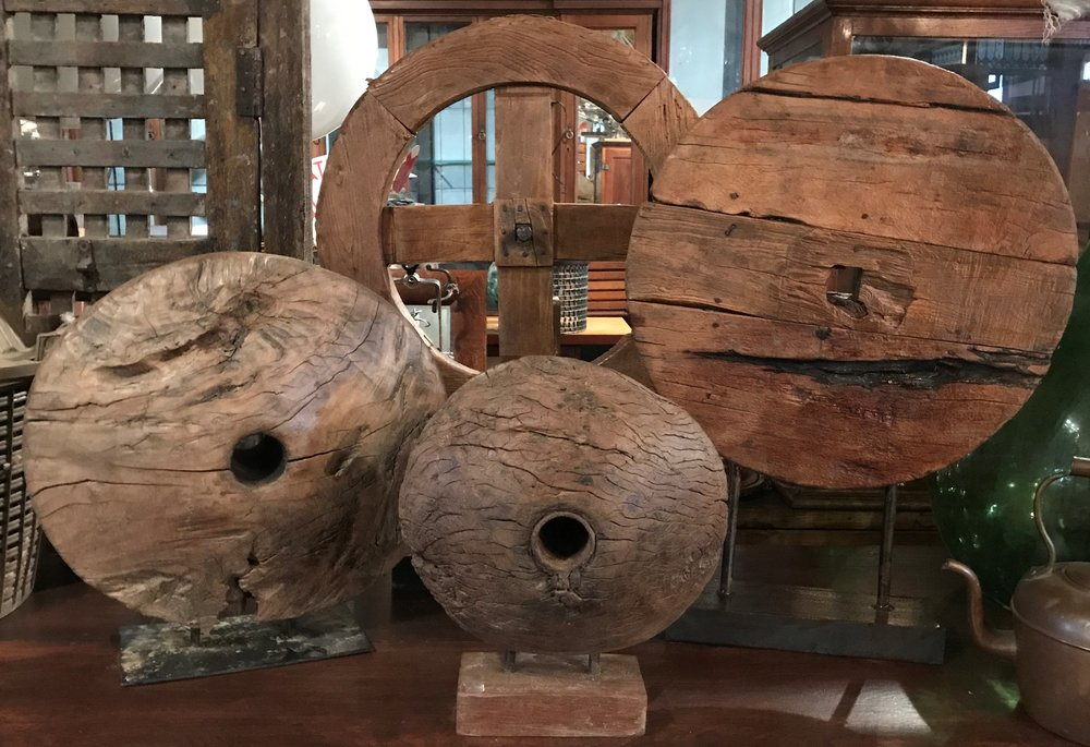 Mounted Antique Wheels & Pulley Wheels