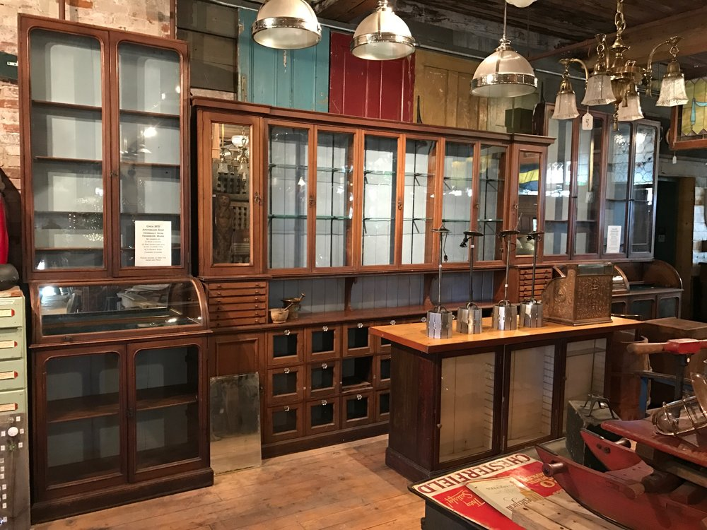 SOLD!!  Antique Walnut Apothecary Shop cabinets