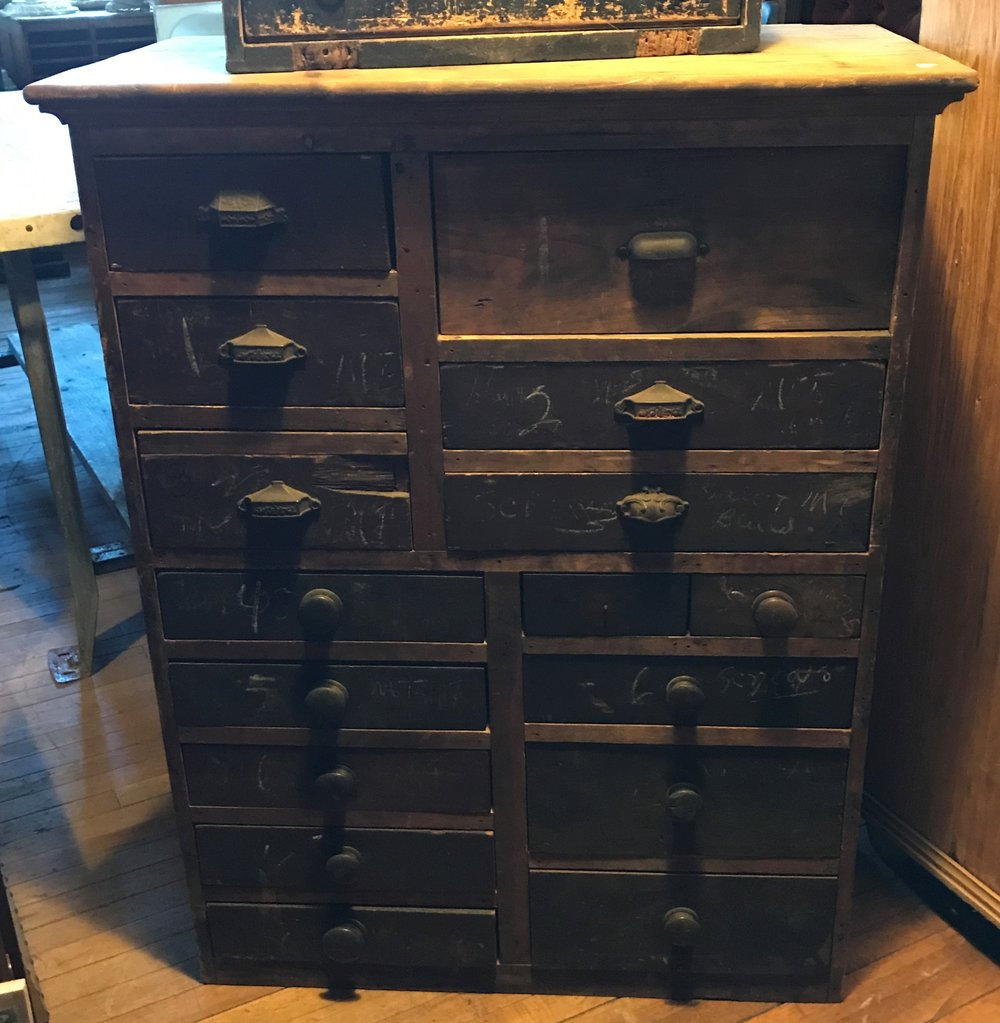 SOLD!!  16 Drawer Rustic Tool Cabinet