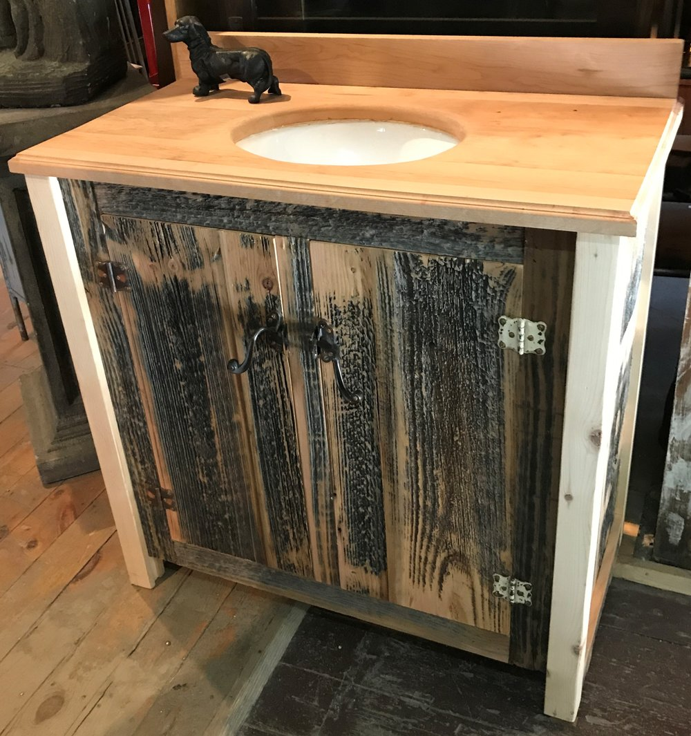 SOLD! Custom Reclaimed Wood Bathroom Vanity