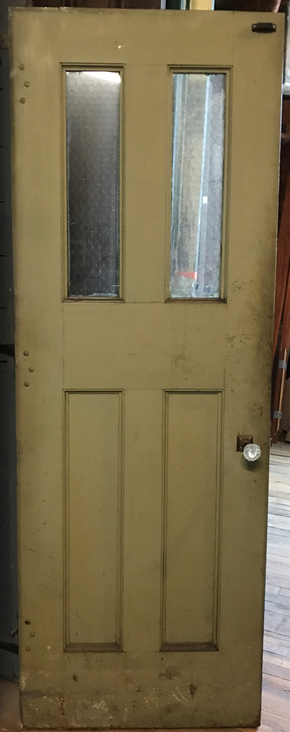 Antique Steel Clad Fire Door With Chicken Wire Glass