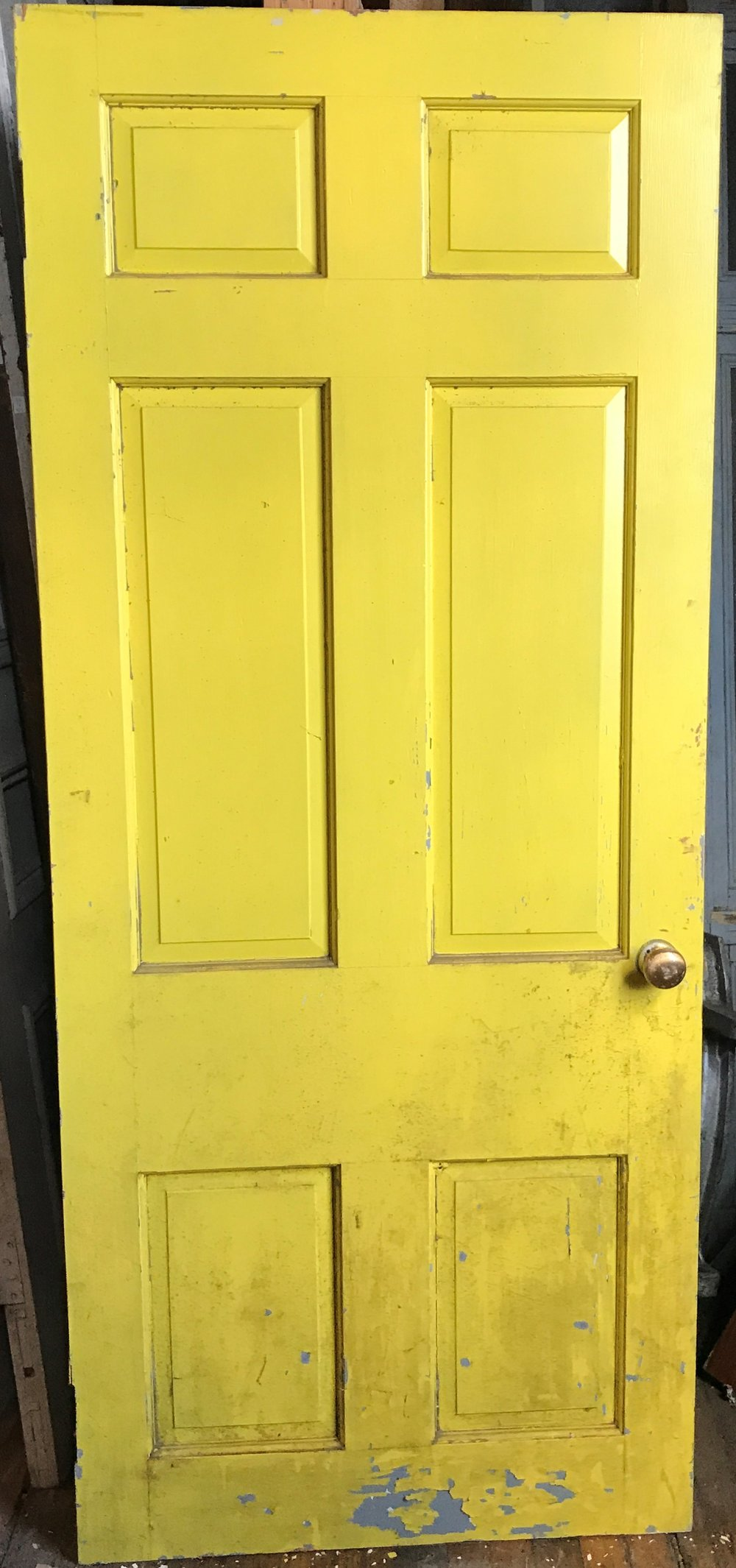 Yellow Painted 6 Panel Colonial Style Entry Door