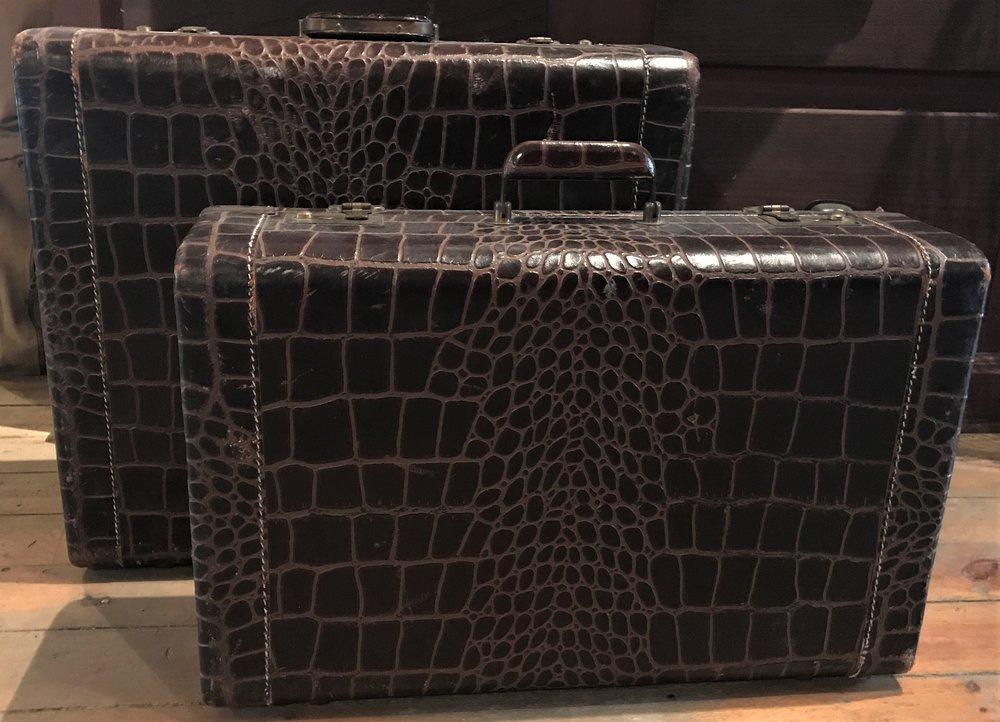 Pair of Alligator Skin Suitcases