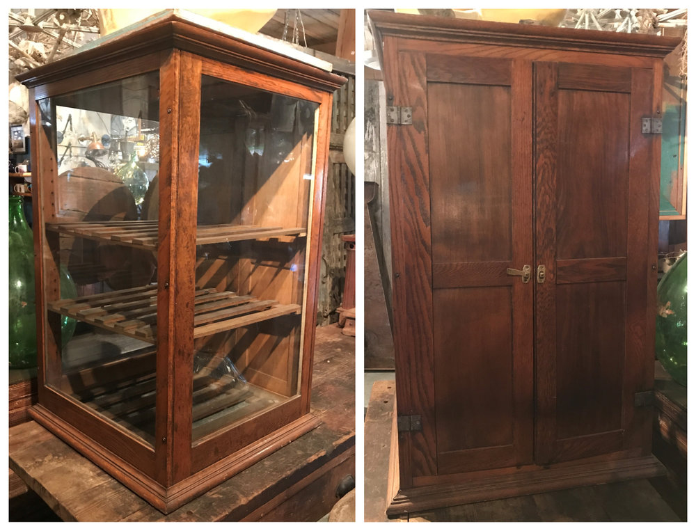 SOLD!!  Antique Oak Bakery Case