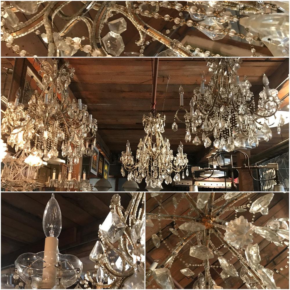 Large Vintage Crystal Chandeliers