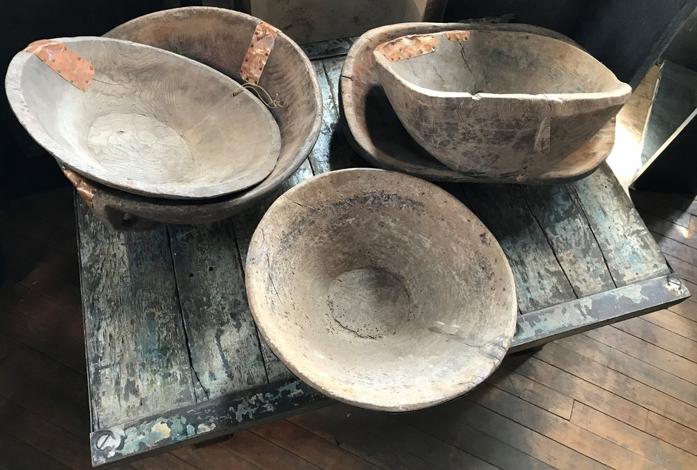 Variety of Antique Wooden Dough Bowls
