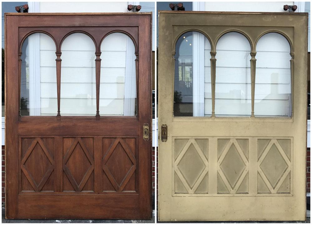 Antique Arch and Diamond interior pocket door