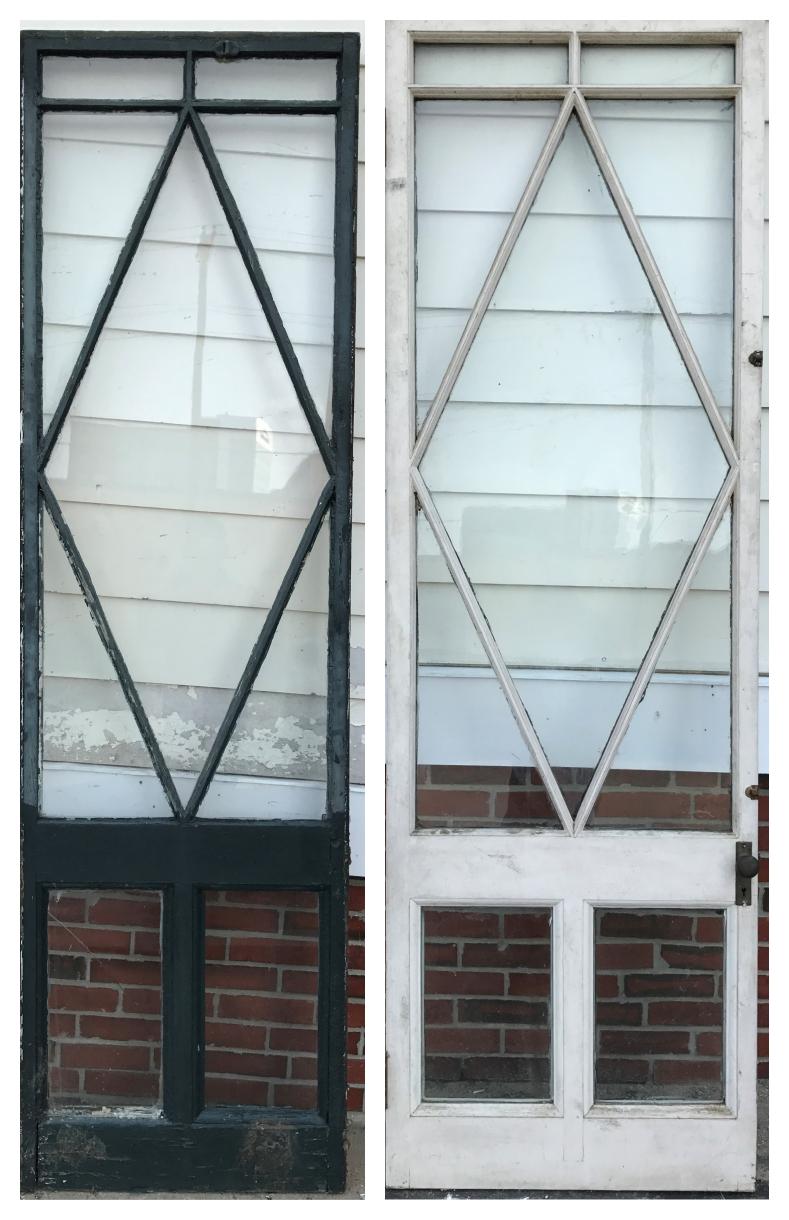 Antique Diamond Pane Porch Door