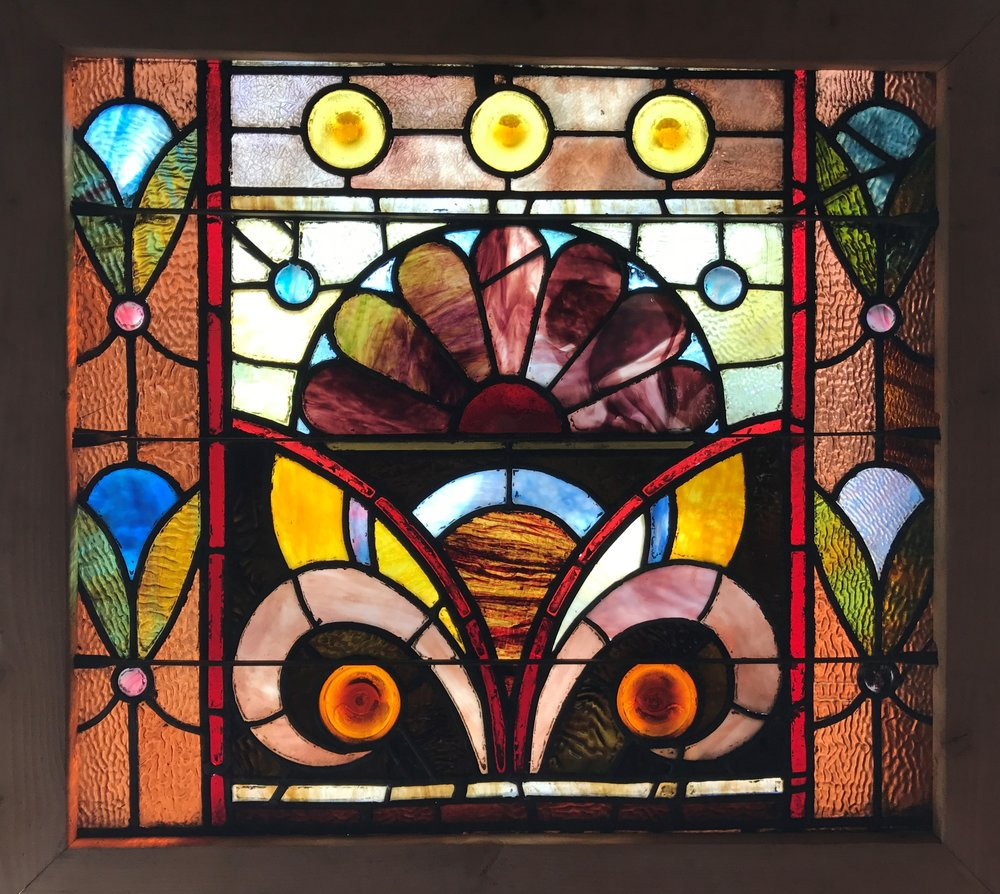 Pair of antique Victorian Stained glass windows