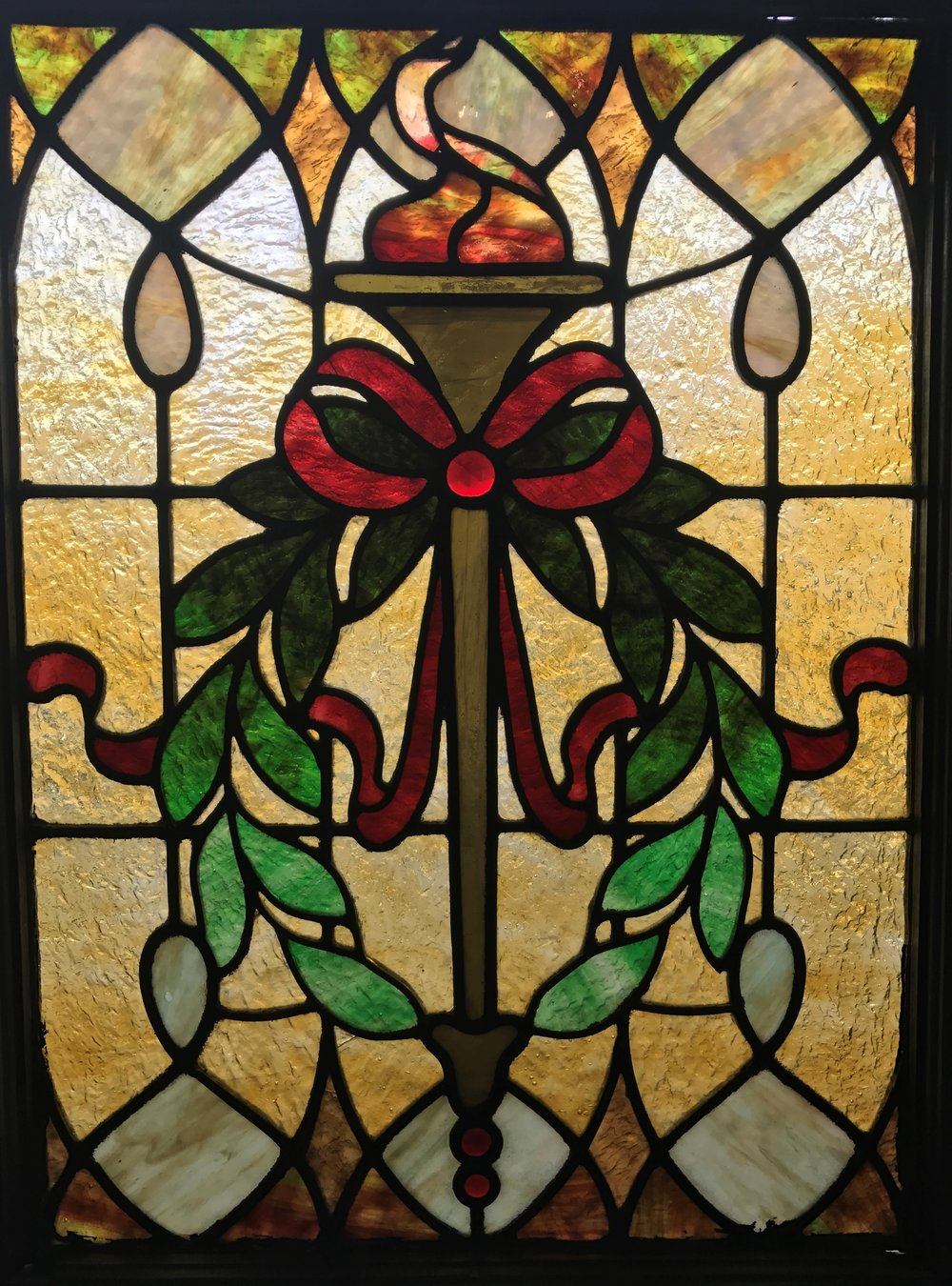 "Antique Stained Glass ""Torch"" window"