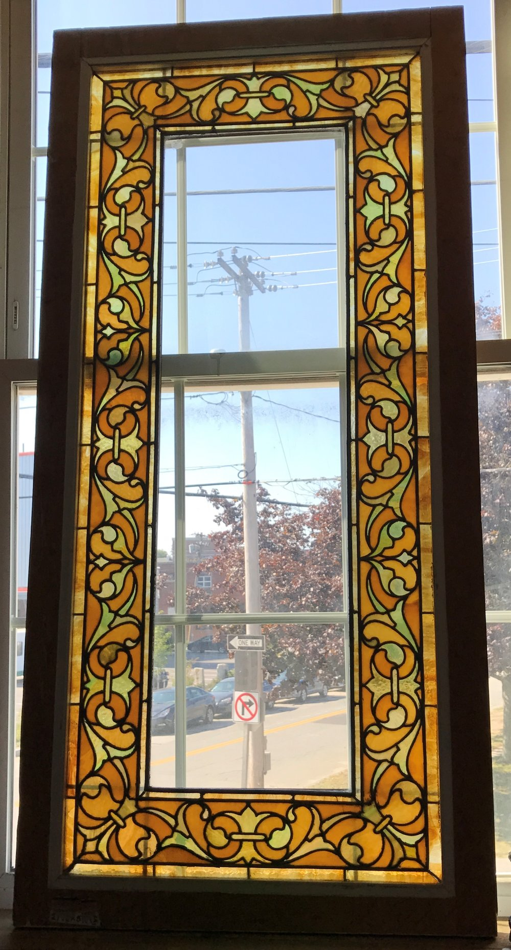 Antique bordered Stained glass window.